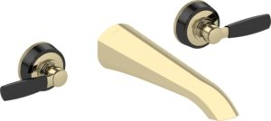 Samuel Heath wall mounted bath tap in Antique Gold with gloss black chrome